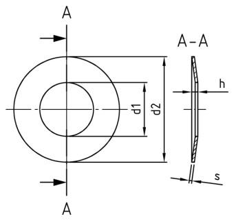 DIN 2093 Tellerfedern 35,5x18,3x1,25 1.4310 blank