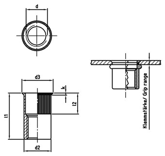 Countersunk HEAD PART 6-sided open 2,5-5,0mm 50 Piece Stainless Steel a2 Blind Rivet Nuts m8 KL